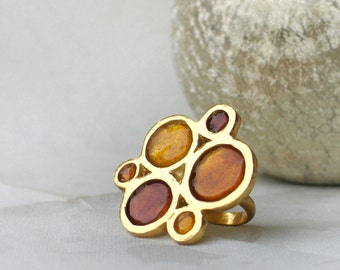 Gold Ring in shades of brown - gold plated silver with resin circles