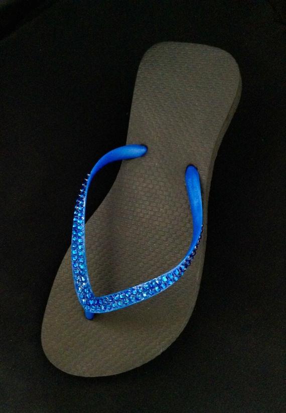 Black Flip Flops Electric Blue Slim Sandals Brazilian Cariris flat w/ Swarovski Crystal Custom Rhinestone Jewel Beach Wedding Bling Shoes