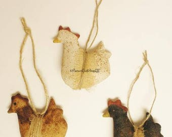 Primitive Chicken Ornament - Made To Order, Primitive Animals Primitive Ornaments