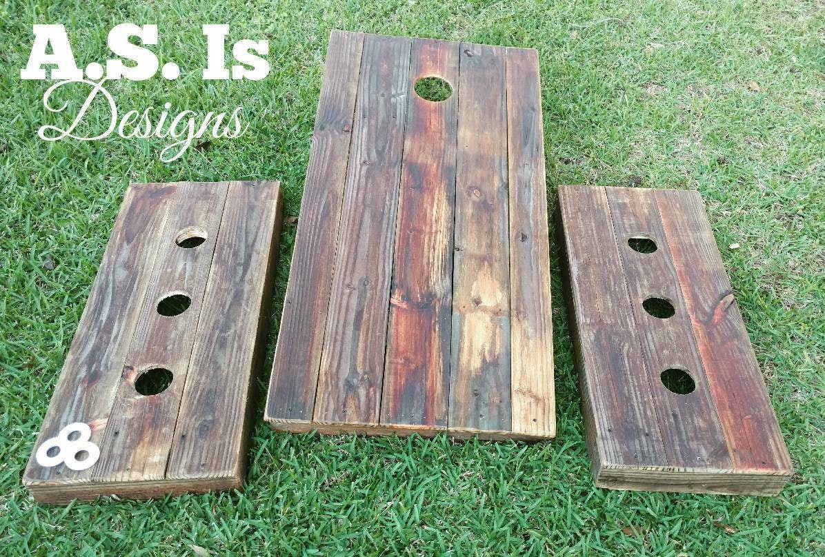 Solid wood reclaimed wood washer board cornhole bean bag for Recycled wood board