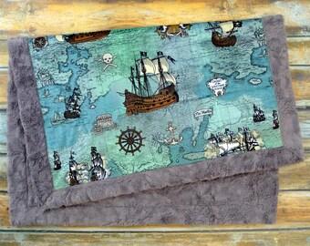 Nautical Baby Blanket - Pirate Baby Blanket - Nautical Nursery - Baby Blanket - Pirate Blanket - Nautical Baby Bedding - Minky Baby Blanket