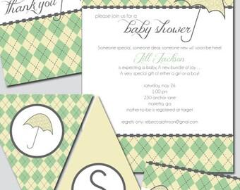 Argyle Baby Shower Invitation and Decoration Printable