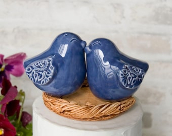 Denim Blue Love Bird Cake Topper