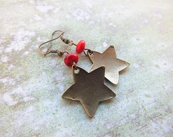 Christmas gift. Star charm earrings. Coral earrings. Boho earrings. Dangle Brass earrings.