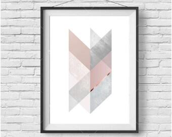Chevron Print Chevron Art Scandinavian Print Scandinavian Poster Geometric Print Blush and Copper Print Decor Gray Art Pink Copper Decor