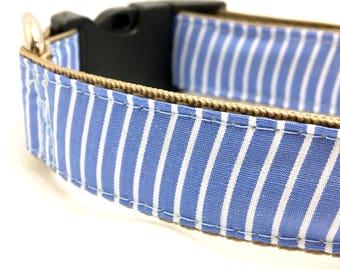 Blue Striped Dog Collar | Blue Dog Collar | Blue Dog Harness & Leash | Collar and Leash Set | Striped Dog Collar | Spring Dog Collar
