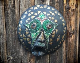 Large Wooden Mask Wall Hanging, Ghana Africa Folk Art Mask, Ashanti Tribal Art Primitive Decor