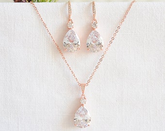 Rose Gold Bridal Jewelry SET, Wedding Necklace Set, Teardrop Dangle Wedding Earrings, Bridesmaids Set, Bridal Pendant Necklace, ISABELLA