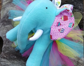 "Teal Plush Elephant - ""Cupcake"""