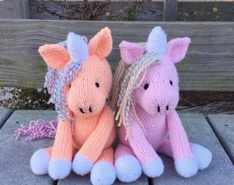 Stuffed Unicorn, Unicorn Doll, Kids Gift, Plush Doll, Hand Knit Toy, Knit Stuffed Animal, Baby Girl Toy, Soft Toy, Custom Toy, Unicorn Pony