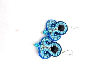 Blue Dangle Earrings Boho Etno Soutache Earrings Handmade Earrings from Poland Hand Embroidered Soutache Jewelry Soutache Gioielli
