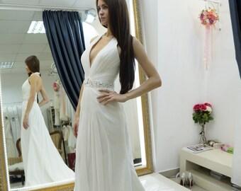 Halter wedding dress, chiffon beach wedding dress