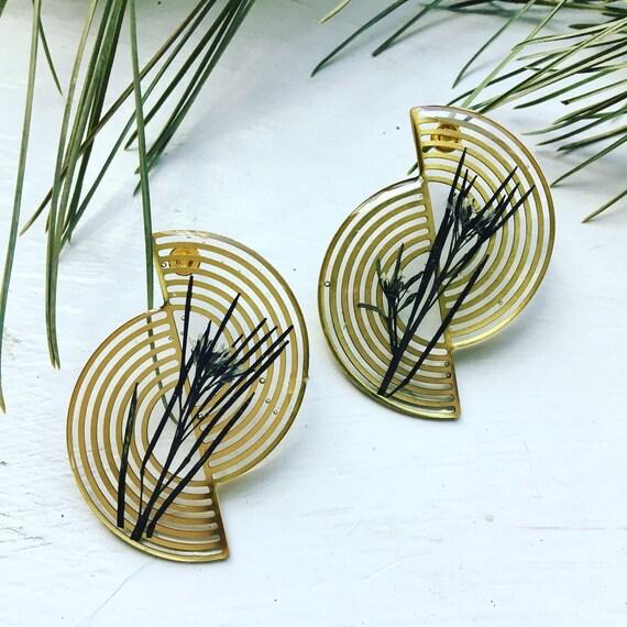 Bittercress brass spiral post earrings