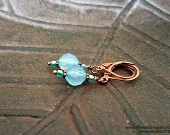 Aqua Drop Leverback Earrings - Dainty Earrings, Blue Earrings, Gift