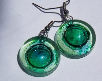 Round Green Recycled Glass Earrings.
