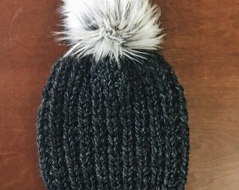 Knit Hat, Chunky Knit Hat with Pom Pom | THE LANTERN | Knit Beanie