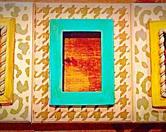 Set of Three Distressed Frames in Cream and Gray with a Splash of Gold, Yellow & Mint. -- Cheetah and Houndstooth Patterns.