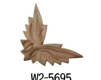 CARVED CORNER LEAF - Solid Walnut wood applique, furniture embellishment, furniture decoration, wood embellishment, wood carving.