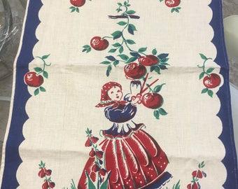 1950s Cheery Cherry ( apples ? ) Dutch girl tea towel. Red Blue Green linen