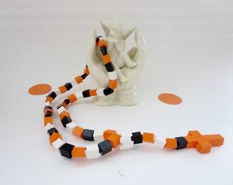 Rosary Made with Lego Bricks -  Orange, White and Black Catholic Child Rosary