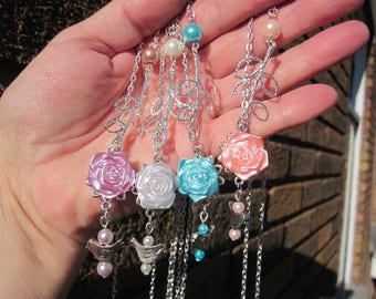 Summer in Pastel colors! Satin ROSE w. LEAF branch, Bird, fx Pearl slide necklace S.P. chain: 4 Choices of color!