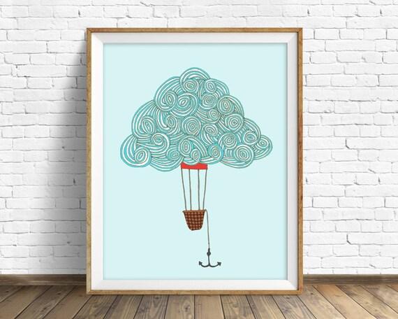 "drawing, hot air balloon, cloud drawing, cloud art, blue, modern, large wall art, minimalist art, print, home decor - ""Cloud Balloon No. 1"""
