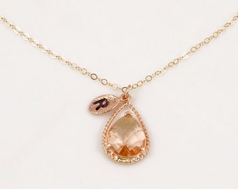 Rose Gold Teardrop Pendant in soft Peach // Champagne Necklace with Initial Leaf // Personalized Bridesmaid Gift