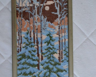 Cross stitch embroidered finished picture with frame-Winter-Home decor-Gift for her-Forest-Snow