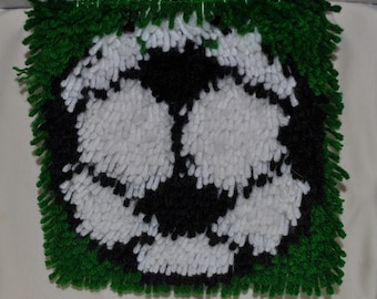 Latch Hook, Rug, Wall Hanging, Soccer Ball, Sports, Gift, Unique