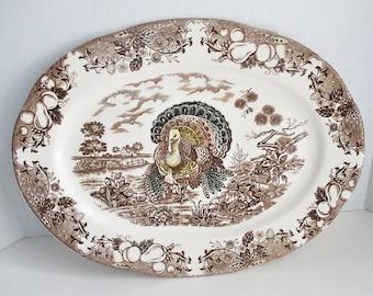 Vintage Turkey Platter Brown Transferware Oval Dish Made in Japan