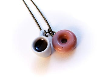 Polymer Clay donut and coffee necklace, Miniature Food Jewelery, Doughnut Necklace, Polymer clay Jewelry, Food Jewelry