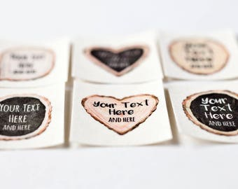 Wood Slice Personalized Labels, Iron On (Woodland Themed Wedding Labels)