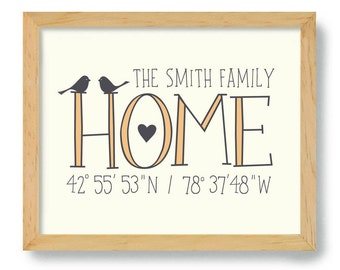 New Home Gift Latitude Longitude Housewarming Gift Home Coordinates City Gift Home Location Welcome Gift for Couple Home Town Realtor Gift