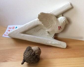 Handmade concrete bird wall sculpture, fragment, bird sculpture, small bird sculpture, stone bird sculpture, bird wall art, small bird, b