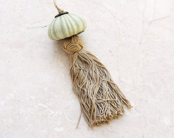 Sea Urchin Ornament Sailor's knot and Tassel - Green and Brass
