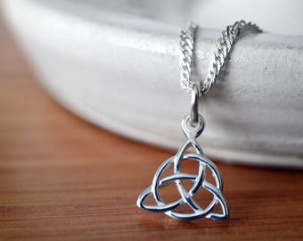 "Trinity Knot Pendant, Sterling Silver Celtic Knot Necklace, Solid .925 Sterling 18"" 20"" Chain, Simple Triquetra Pendant, Celtic Jewelry"