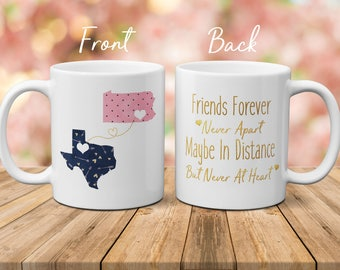 Moving Mug For Friend, Best Friend Moving Mug, Moving Away Mug, Long Distance Mug, State To State Mug, Connecting States Mug, Christmas Gift