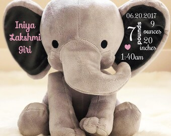 personalized Baby gift, Birth Stat Elephant, Birth Stat Gift, Stuffed Elephant, Baby Shower Gift, Baby Girl Gift, Baby Boy Gift