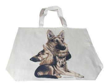 German Sheppard Alsatian  Dog  Printed Bag  100% Cotton Tote  Shopper Bag For Life
