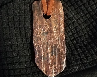 Steel Wood Texture Pendant Necklace Brazed Copper Free Shipping