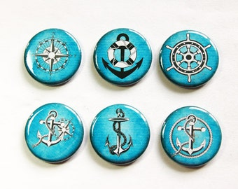 Nautical Magnets, Sailing magnets, Blue Magnets, button magnets, anchor, compass, fridge magnets, Kitchen Magnets, stocking stuffer (3273)