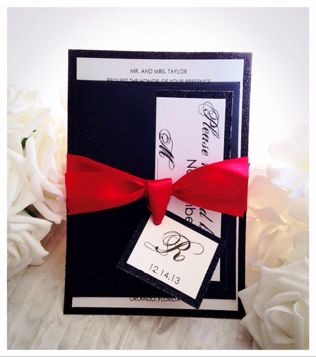 Wedding Invitation Black and Red Wedding Invitation glitter