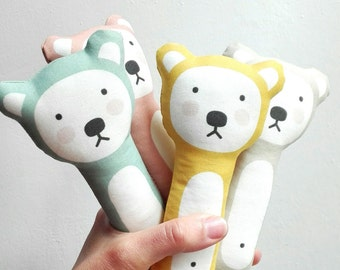 Stuffed handmade bear. Rag bear. Baby doll bear. Fabric handmade doll. Plush bear.