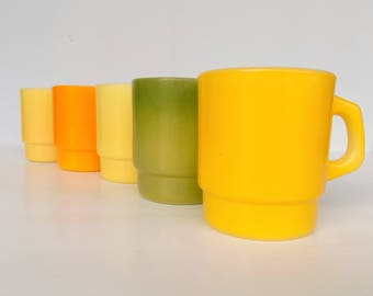 Fire King Stackable Mugs in 60s Citrus Color Scheme-  SOLD INDIVIDUALLY