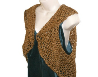 Womens Vest, Brown Shrug, Brown Sweater Vest, Shrug, Sleeveless Shrug, Womens Bolero, Lacy Bolero, Plus Size Bolero, Plus Size Vest