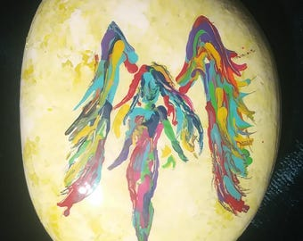 Painted rock colorful angel