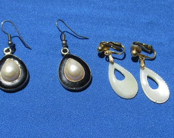 Lot Of Vintage Faux Pearl Dangling Teardrop Shaped Pierced Clip On Earrings