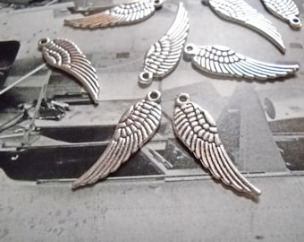 Angel Wing Charms Silver Angel Wings Silver Angel Charms Silver Charms BULK Charms Wholesale Charms 50 pieces