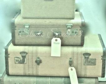 "Retro Art, Vintage Luggage Photo, Travel Art Print, Green Decor, Old Luggage Print, Old Suitcase Art, Girls Room Decor- ""Retro Travel"""