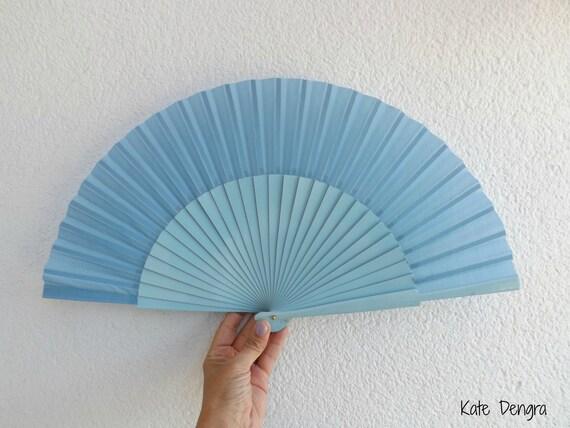 L Baby Blue Plain Wooden Hand Fan